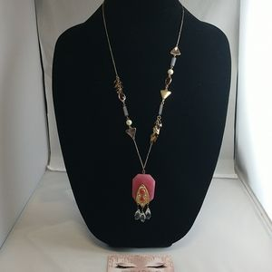 Statement necklace with pink stone